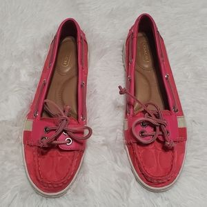 Coach rainey pink casual boat shoes
